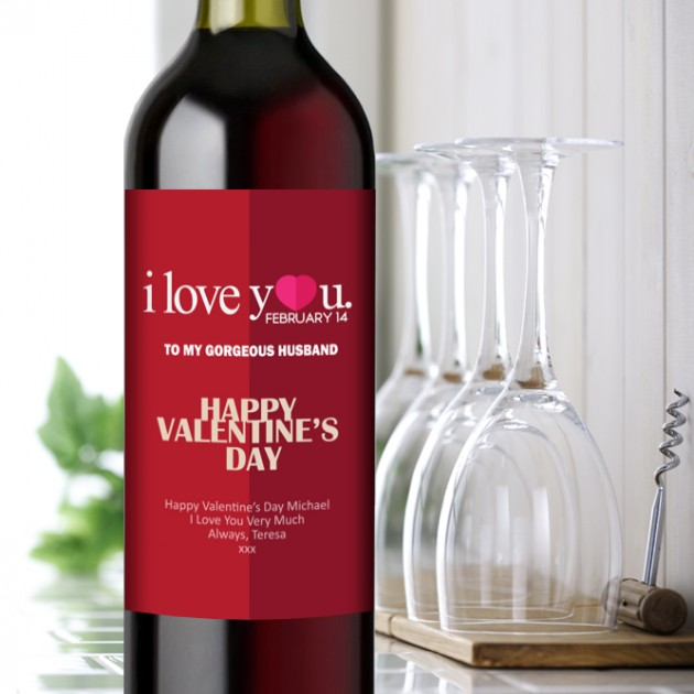 Hampers and Gifts to the UK - Send the I Love You Valentine's Day Wine Gift Personalised