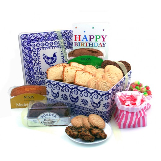 Hampers and Gifts to the UK - Send the Birthday Cookies and Cake Tin