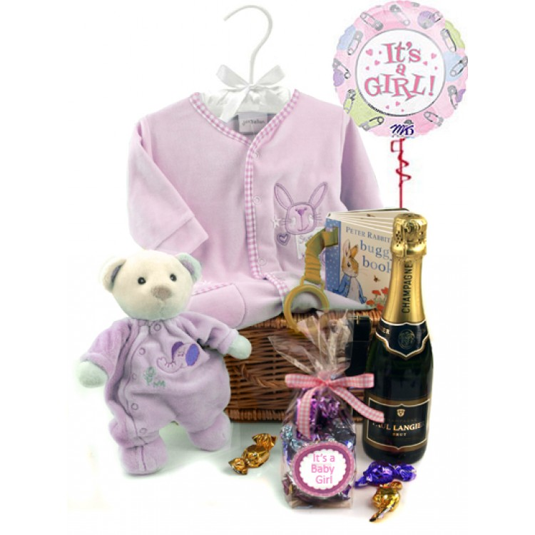 Baby Gift Hamper Uk : New baby girl gift hamper with helium balloon and champagne