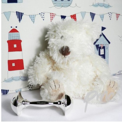 Hampers and Gifts to the UK - Send the Personalised Silver Baby Rattle