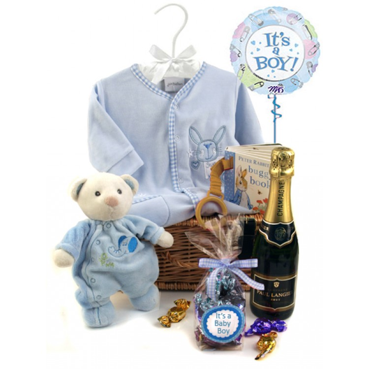 Baby Boy Gifts Hampers : Baby boy gift hamper with champagne for the new parents
