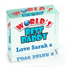 Hampers and Gifts to the UK - Send the Personalised Crystal Paperweight - Worlds Best Daddy