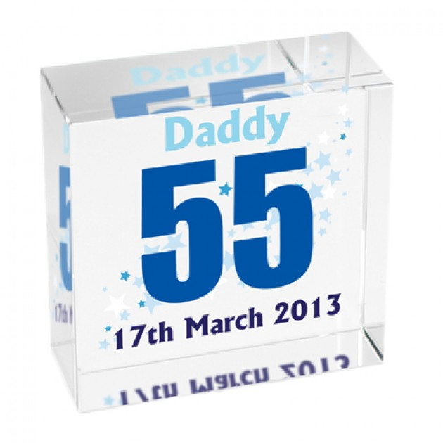 Hampers and Gifts to the UK - Send the Personalised Crystal Paperweight - Birthday Stars