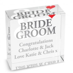 Hampers and Gifts to the UK - Send the Personalised Bride and Groom Crystal Paperweight