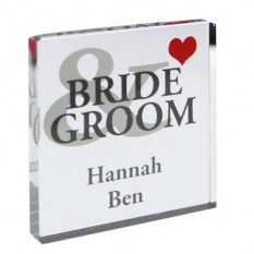 Hampers and Gifts to the UK - Send the Personalised Bride and Groom Crystal Token
