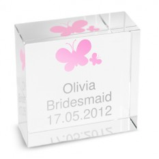 Hampers and Gifts to the UK - Send the Personalised Crystal Paperweight - Pink Butterflies