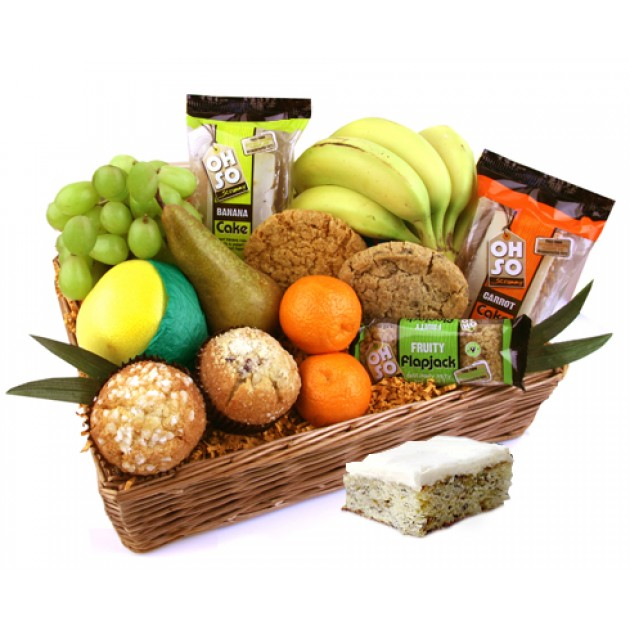 Hampers and Gifts to the UK - Send the Oh So Scrummy Fruit and Cake Gift Basket