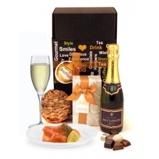 Hampers and Gifts to the UK - Send the Half Bottle Sparkling Champagne and Salmon Gift Box