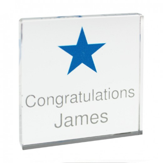 Hampers and Gifts to the UK - Send the Personalised Crystal Token - Blue Star