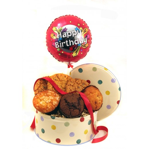 Hampers and Gifts to the UK - Send the Cookies Muffins and Balloon - Birthday STANDARD
