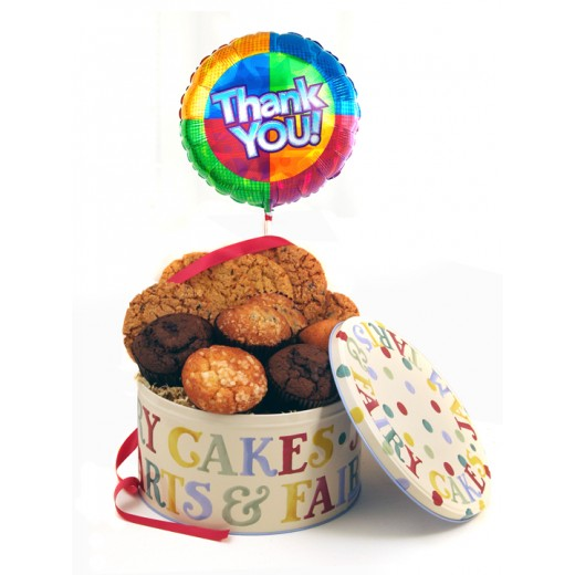 Hampers and Gifts to the UK - Send the Cookies Muffins and Balloon - Thank You LUXURY