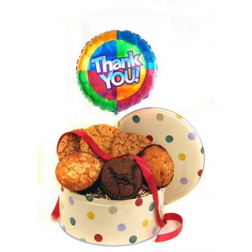 Hampers and Gifts to the UK - Send the Cookies Muffins and Balloon - Thank You STANDARD