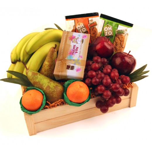 Hampers and Gifts to the UK - Send the Thank You Chocolate Ballotin and Fruit Basket