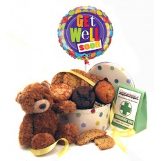Hampers and Gifts to the UK - Send the Get Well Balloon and Muffins with Teddy and Chocs