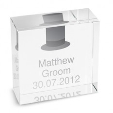 Hampers and Gifts to the UK - Send the Personalised Crystal Paperweight - Groom's Top Hat