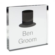 Hampers and Gifts to the UK - Send the Personalised Crystal Token - Groom's Top Hat