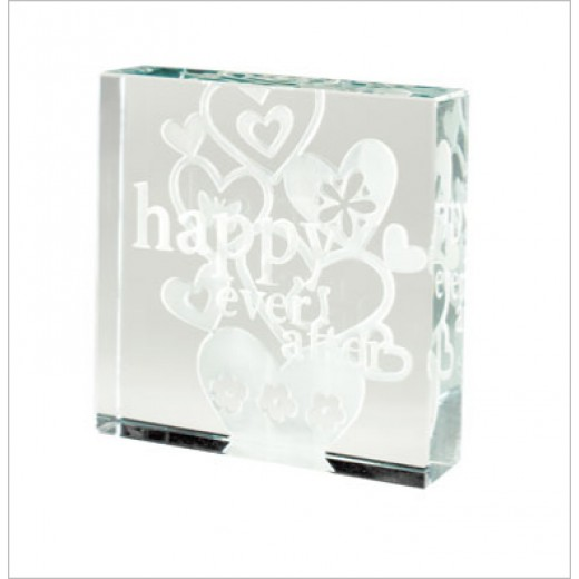 Hampers and Gifts to the UK - Send the Happy Ever After Medium Spaceform Paperweight