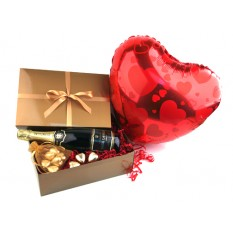 Hampers and Gifts to the UK - Send the Chocolates Hearts Gift Box Champagne Balloon