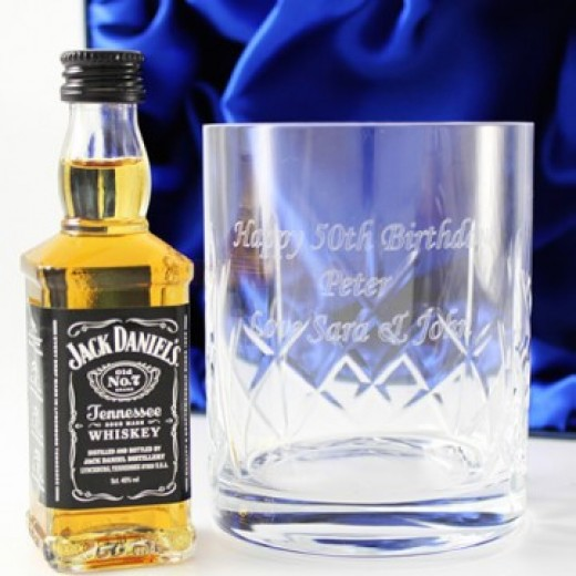 Hampers and Gifts to the UK - Send the Personalised Jack Daniels Crystal Tumbler Gift Set