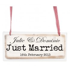 Hampers and Gifts to the UK - Send the Personalised Just Married Rustic Wooden Sign