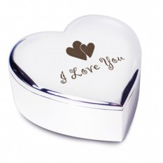Hampers and Gifts to the UK - Send the Silver Heart Trinket Box I Love You