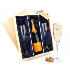 Hampers and Gifts to the UK - Send the Celebration Veuve Clicquot & WEDDING Flutes