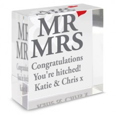 Hampers and Gifts to the UK - Send the Personalised Crystal Paperweight - Mr and Mrs