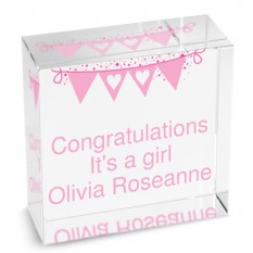 Hampers and Gifts to the UK - Send the Personalised Crystal Paperweight - Pink Bunting