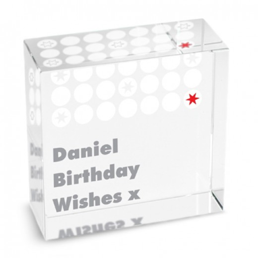 Hampers and Gifts to the UK - Send the Personalised Crystal Paperweight - Polka Dot Stars