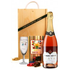 Hampers and Gifts to the UK - Send the Birthday Sparkling Rose Wine and Chocolates