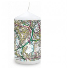 Hampers and Gifts to the UK - Send the Personalised Present Day Map Candle with Any Postcode