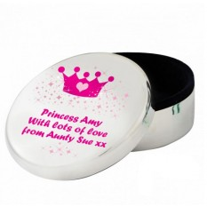 Hampers and Gifts to the UK - Send the Pink Princess Silver Trinket Box Personalised