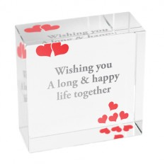 Hampers and Gifts to the UK - Send the Personalised Crystal Paperweight - Multi Love Hearts