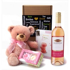Hampers and Gifts to the UK - Send the Oh La La Pink Cuddles and Wine