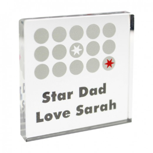 Hampers and Gifts to the UK - Send the Personalised Crystal Token - Polka Dot Stars