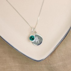 Hampers and Gifts to the UK - Send the Silver Personalised Initial Letter Birthstone Necklace