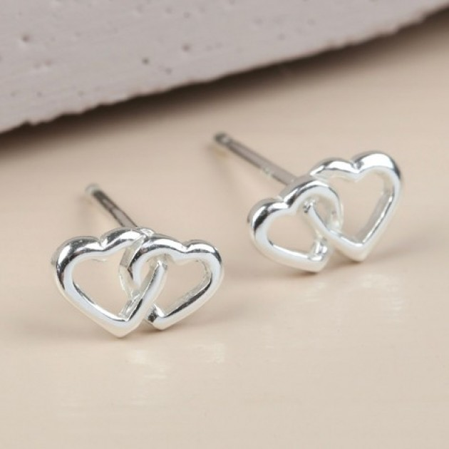 Hampers and Gifts to the UK - Send the  Sterling Silver Interlocking Heart Stud Earrings