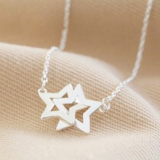 Hampers and Gifts to the UK - Send the Silver Interlocking Stars Necklace