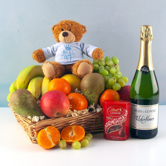 Hampers and Gifts to the UK - Send the It's a Boy Fruit Basket with Chocolates and Soft Drink