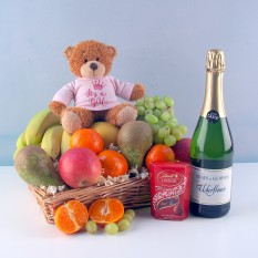 Hampers and Gifts to the UK - Send the It's a Girl Fruit Basket with Chocolates and Soft Drink