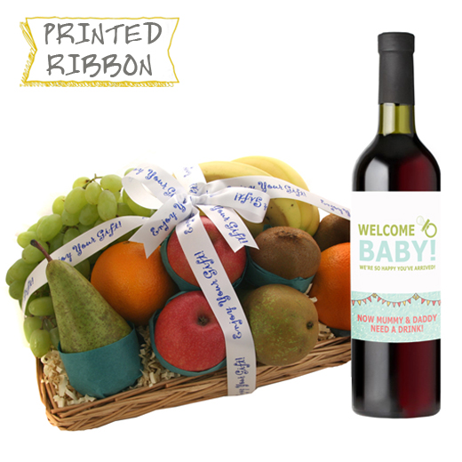 Hampers and Gifts to the UK - Send the New Parent Fruit Basket with Wine