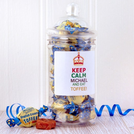 Hampers and Gifts to the UK - Send the Keep Calm and Eat Toffee Sweet Jar
