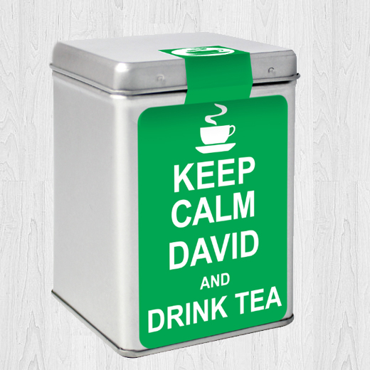 Hampers and Gifts to the UK - Send the Personalised Tea Caddy Keep Calm