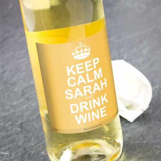 Hampers and Gifts to the UK - Send the Keep Calm White Wine Personalised