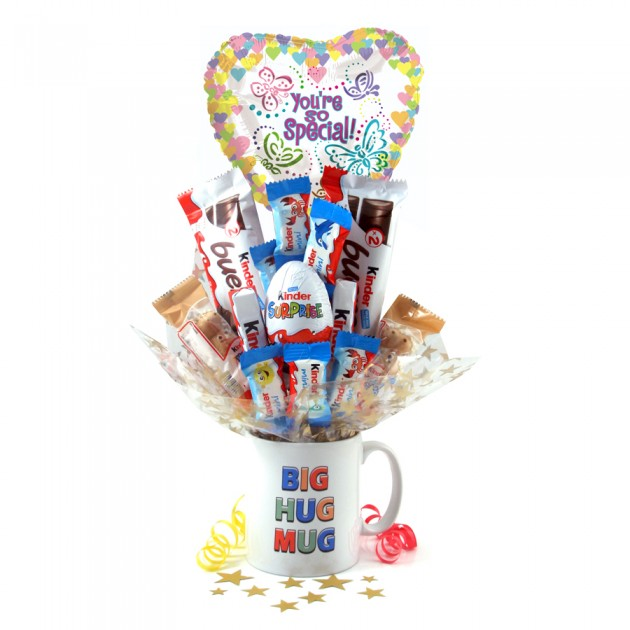 Hampers and Gifts to the UK - Send the Big Hug Kinder Egg Surprise Bouquet In a Mug
