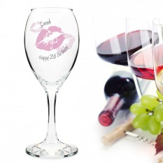 Hampers and Gifts to the UK - Send the Personalised Kiss Wine Glass