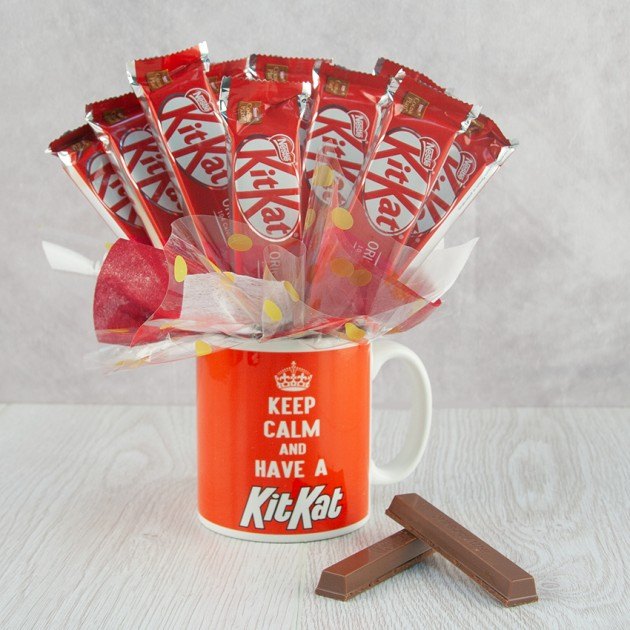 Hampers and Gifts to the UK - Send the KitKat Mug Bouquet