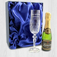 Hampers and Gifts to the UK - Send the Personalised Miniature Crystal Champagne Gift Set
