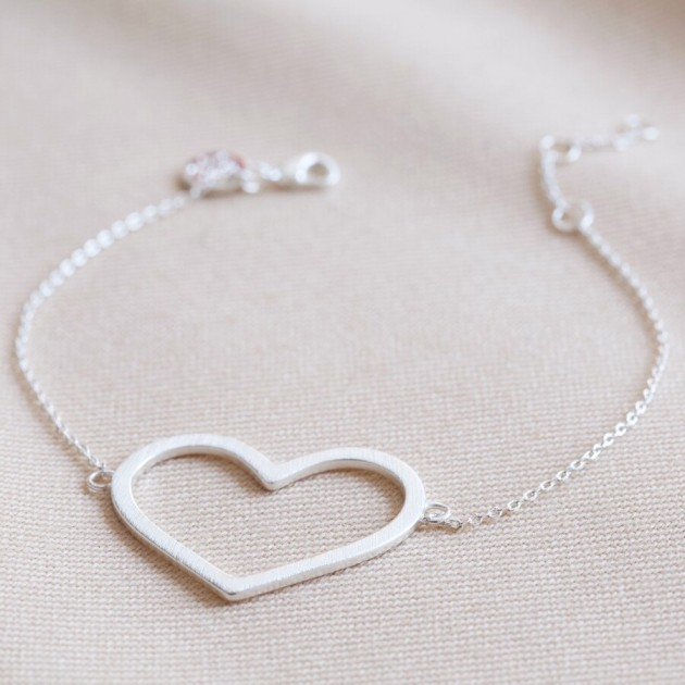 Hampers and Gifts to the UK - Send the Large Heart Outline Bracelet in Silver
