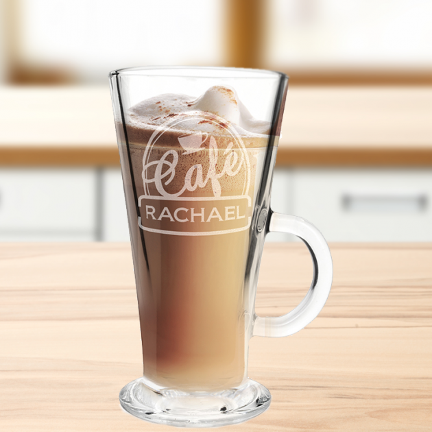 Hampers and Gifts to the UK - Send the Personalised Any Name Bistro Latte Glass